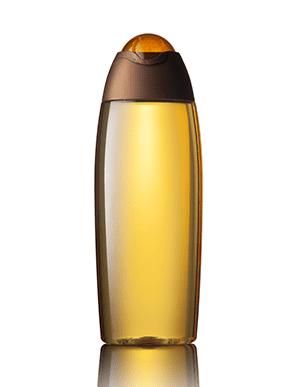 Un flacon transparent avec bouchon